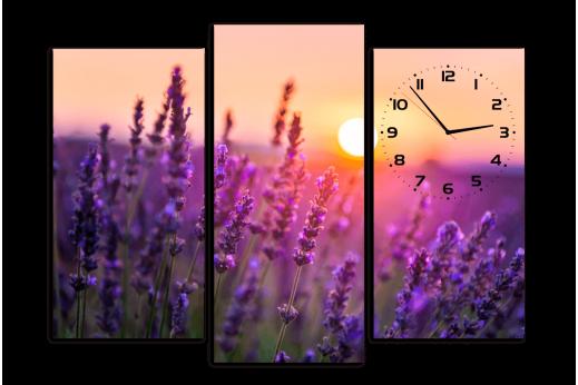 Модульная картина с часами Лаванда
