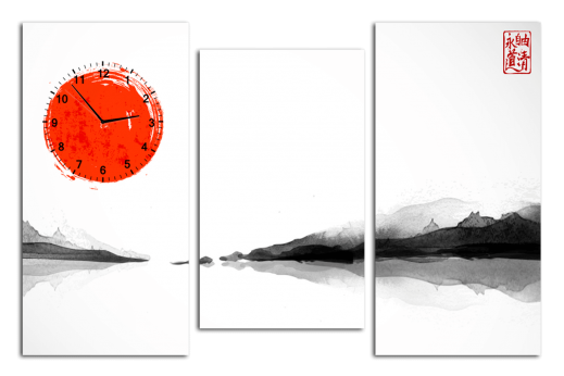Модульная картина с часами Китайская живопись